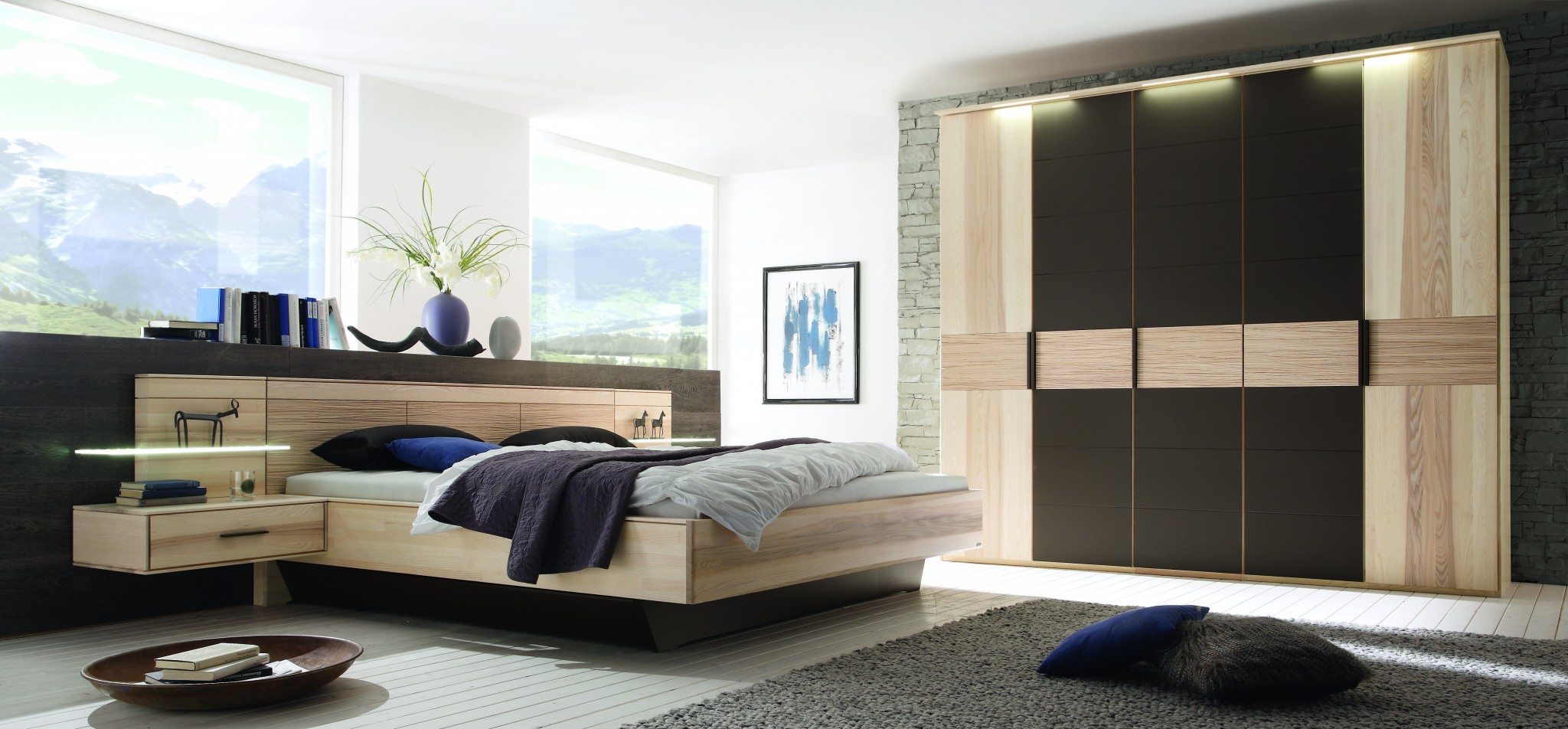 schlafzimmer mira in strukturesche massiv m bel polt m belhaus. Black Bedroom Furniture Sets. Home Design Ideas