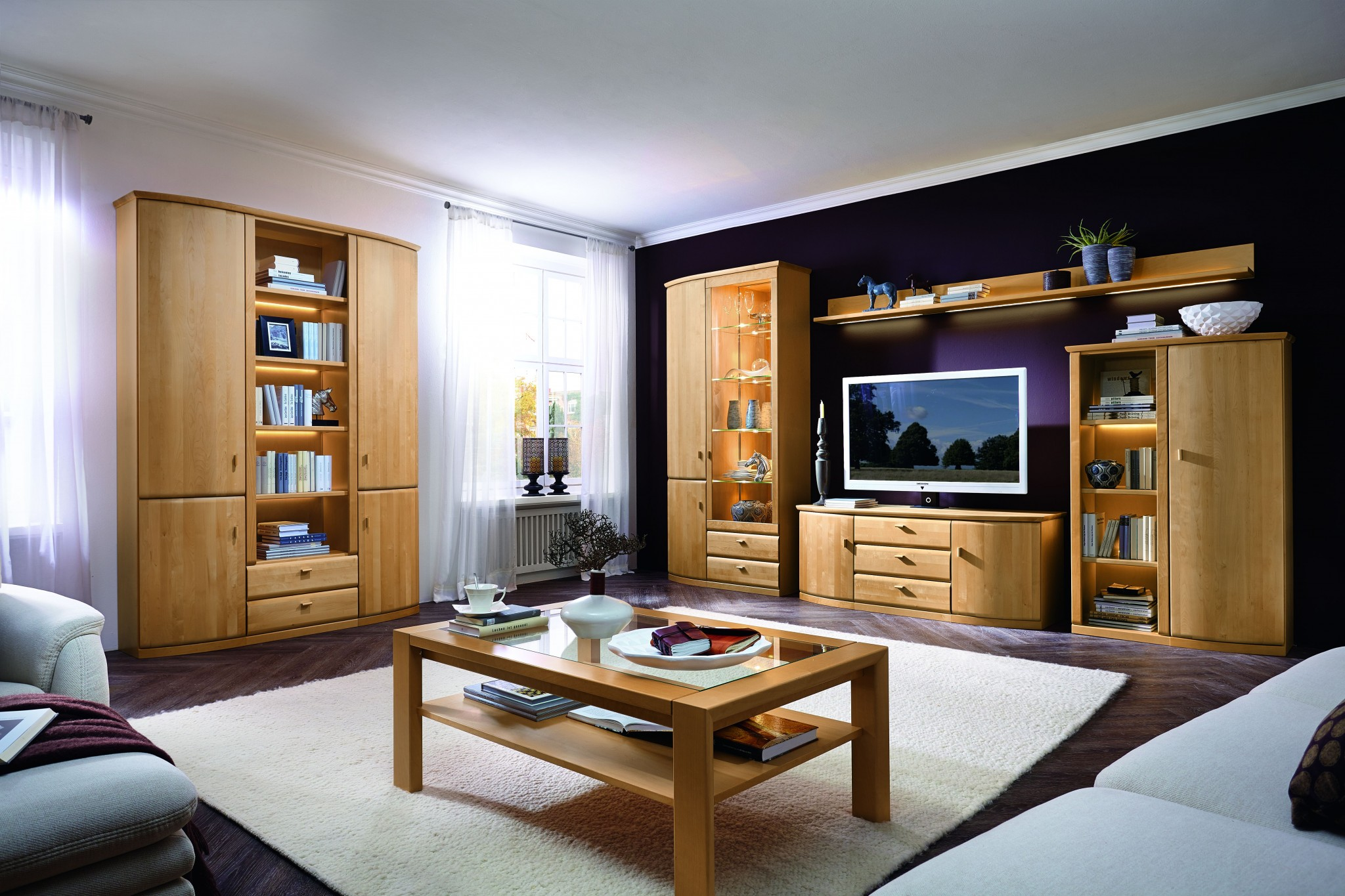 wohnwandprogramm ricardo in kernesche teilmassiv. Black Bedroom Furniture Sets. Home Design Ideas