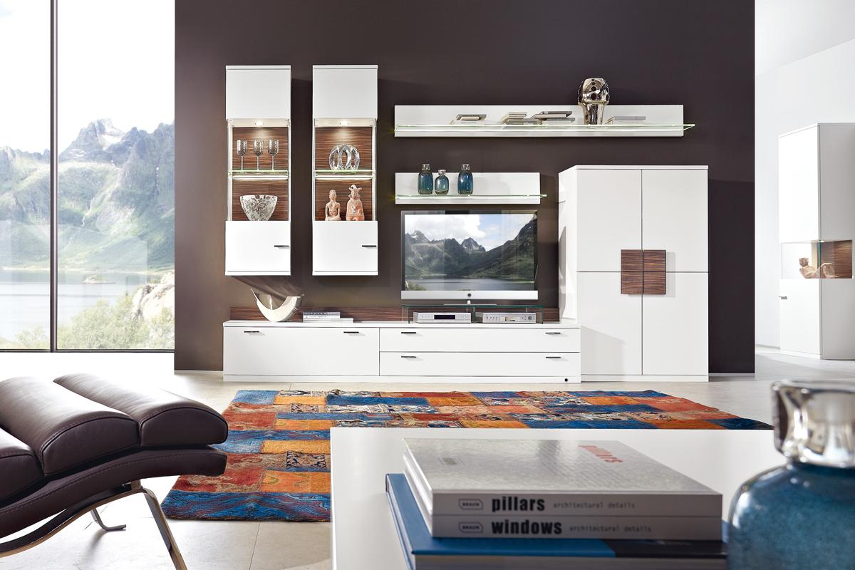 wohngestaltung la vita in lack wei mit holzabsetzungen m bel polt m belhaus. Black Bedroom Furniture Sets. Home Design Ideas