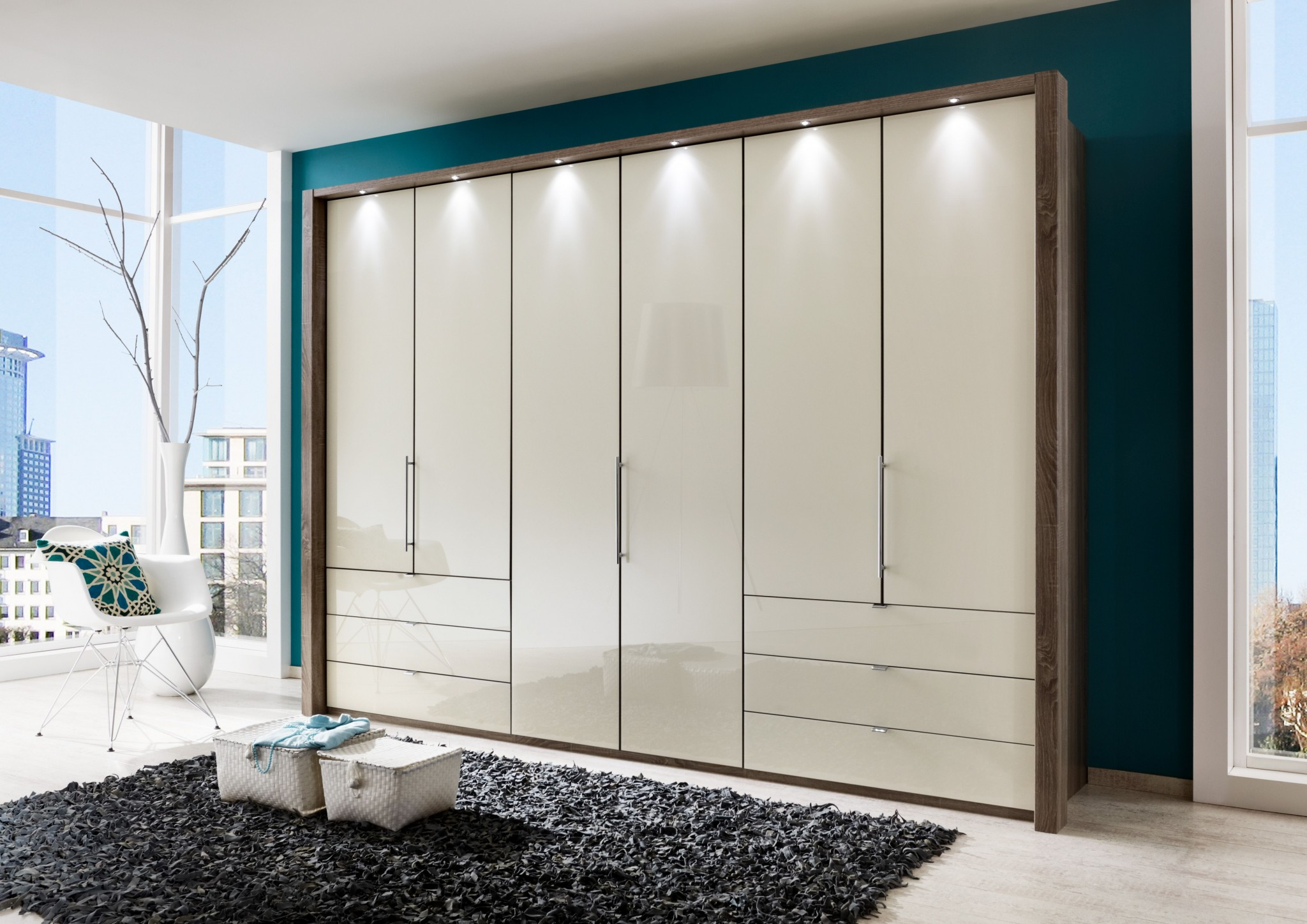 panoramaschrank topline 1185 mit faltt ren in glas. Black Bedroom Furniture Sets. Home Design Ideas