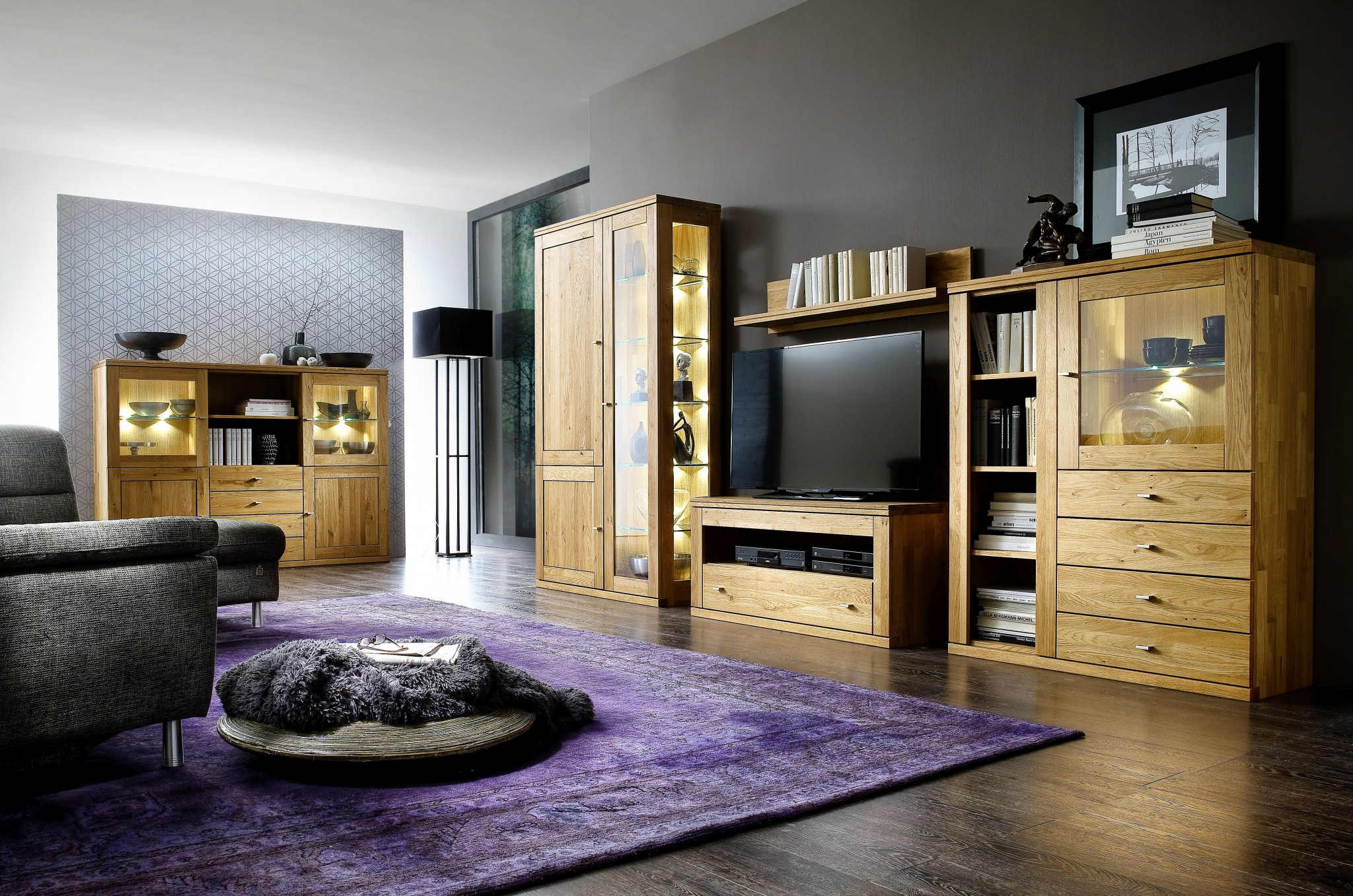 wohnwand verona in wildeiche massiv ge lt ca 370 cm breit. Black Bedroom Furniture Sets. Home Design Ideas