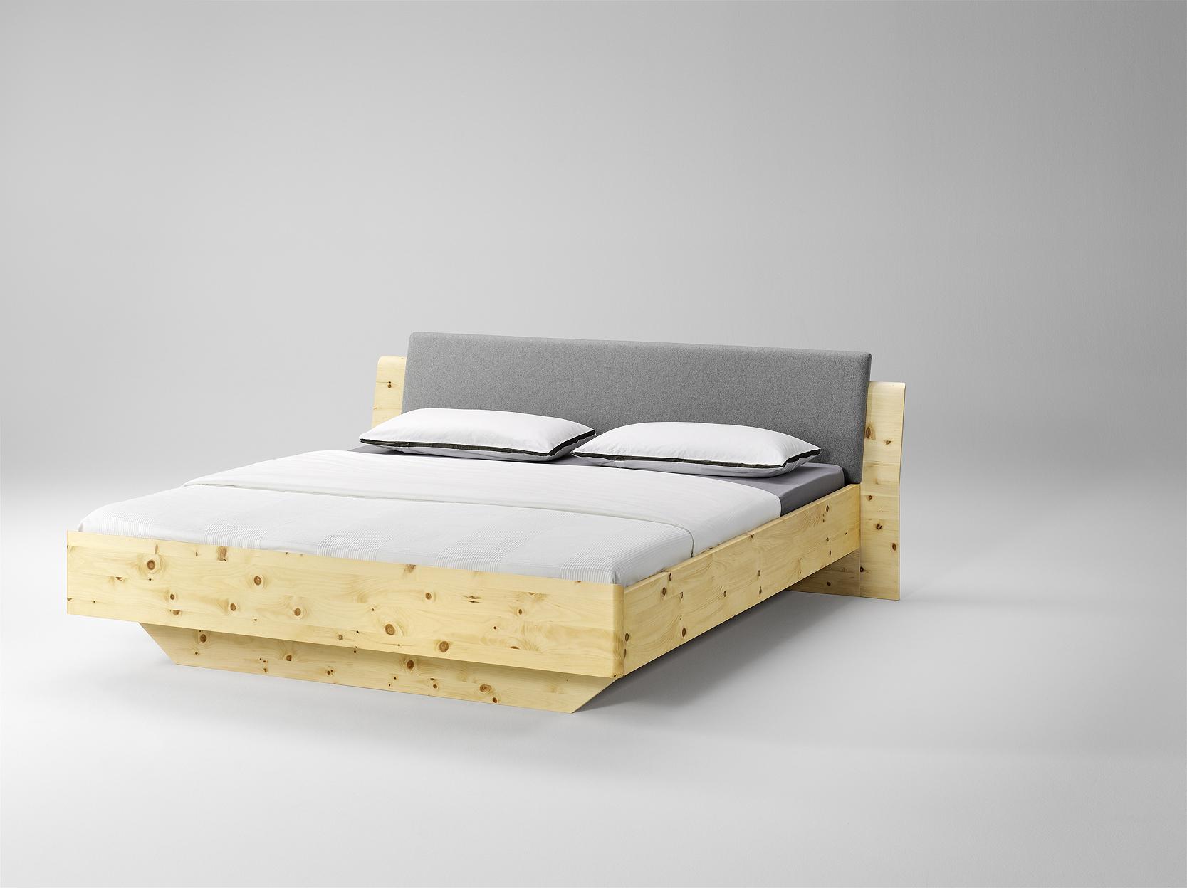 massivholz zirbenbett tares inkl. 2 nachtkästchen in oberfläche, Schlafzimmer entwurf