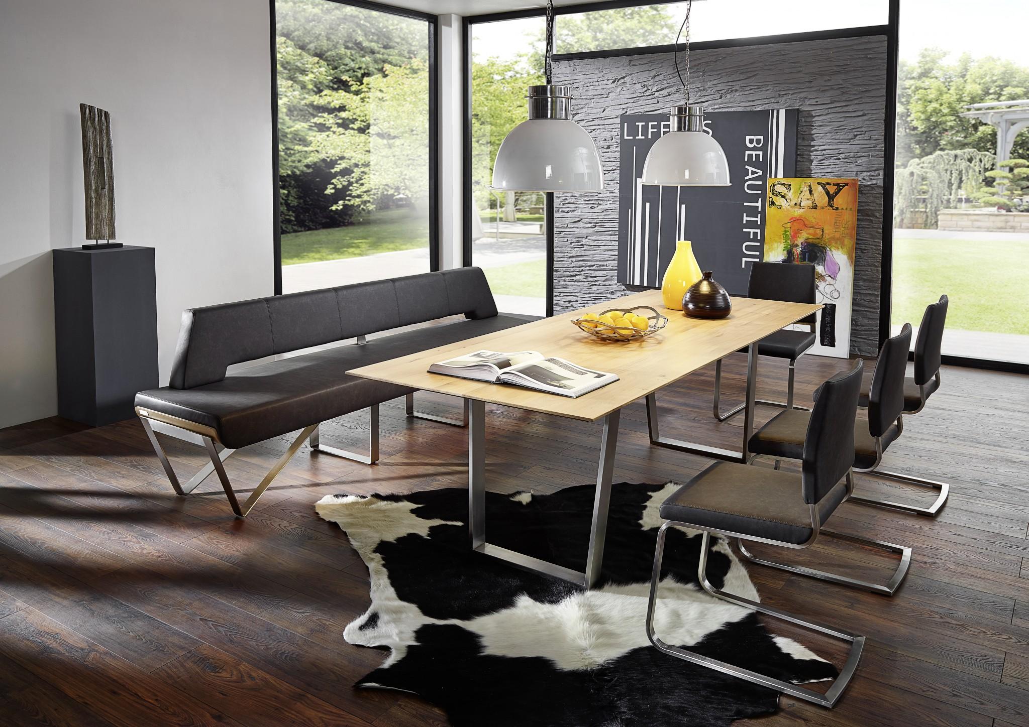 designorientierte tischgruppe vista 100 mit edelstahlkufen einzelbank 200 cm lang. Black Bedroom Furniture Sets. Home Design Ideas
