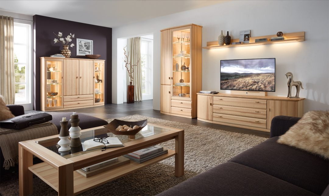 wohnwandprogramm ricardo in kernesche teilmassiv m bel polt m belhaus. Black Bedroom Furniture Sets. Home Design Ideas
