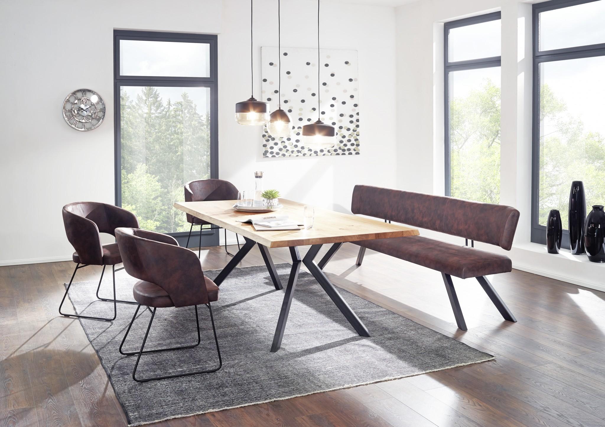 Designorientierte tischgruppe topline 1855 mit metallf en in schwarz einzelbank 200 cm 1 - Baumtisch esszimmer ...