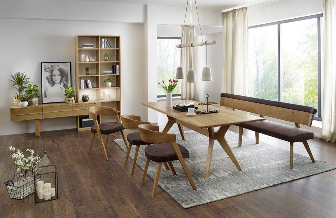 Variable Tischgruppe SINFONIA in Asteiche, Einzelbank 240 cm, € 1.790.- – Möbel Polt Möbelhaus